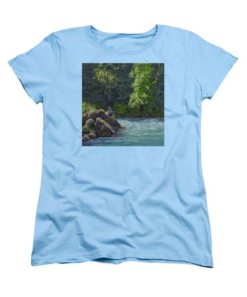 Women's T-Shirt (Standard Cut) featuring the painting Favorite Spot by Karen Ilari