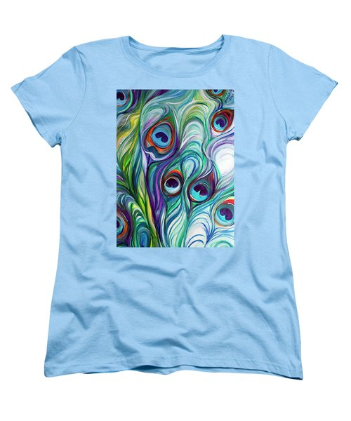 Feathers Peacock Abstract Women's T-Shirt (Standard Cut) by Marcia Baldwin
