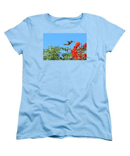 Women's T-Shirt (Standard Cut) featuring the photograph Feeding  Anna's Hummingbird by Robert Bales