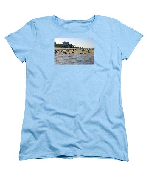 Fighting Conchs At Lowdermilk Park Beach In Naples, Fl Women's T-Shirt (Standard Cut) by Robb Stan