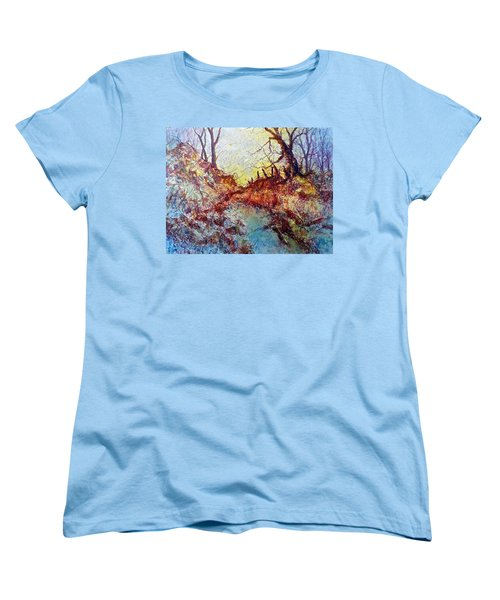 Women's T-Shirt (Standard Cut) featuring the painting Forgotten Fence by Carolyn Rosenberger