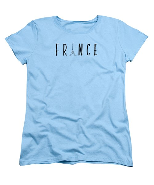 France Typography Panoramic Women's T-Shirt (Standard Cut)