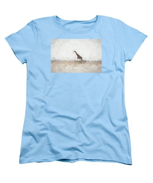 Women's T-Shirt (Standard Cut) featuring the digital art Giraffe Abstract by Ernie Echols