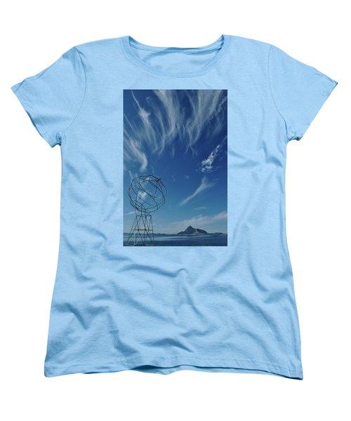 Globe Symbol View  On Sky Background In Norway Women's T-Shirt (Standard Cut) by Tamara Sushko