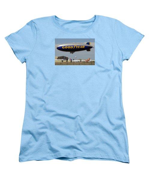 Goodyear Blimp Spirit Of Innovation Goodyear Arizona September 13 2015 Women's T-Shirt (Standard Cut) by Brian Lockett