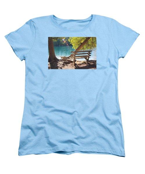 Green Lakes Women's T-Shirt (Standard Cut) by David Stasiak