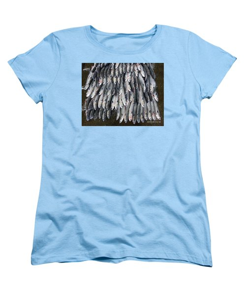 Women's T-Shirt (Standard Cut) featuring the photograph Grey Mullet Fish For Sale At The Fish Market by Yali Shi