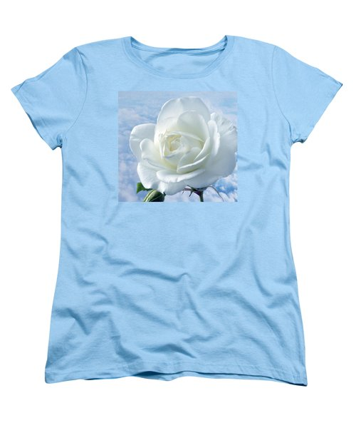 Heavenly White Rose. Women's T-Shirt (Standard Cut) by Terence Davis