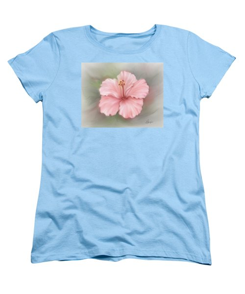 Women's T-Shirt (Standard Cut) featuring the painting Hibiscus  by Bonnie Willis