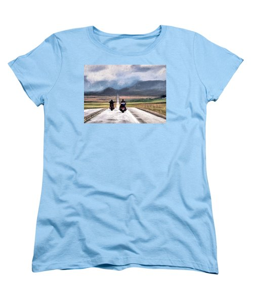 Women's T-Shirt (Standard Cut) featuring the photograph Highway In The Wind by Jim Hill