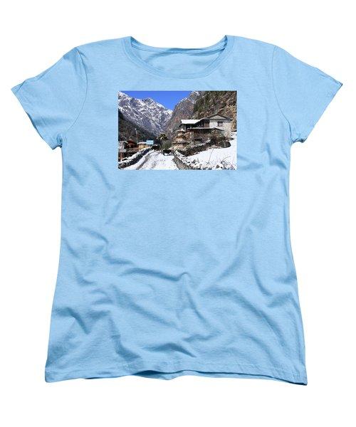 Women's T-Shirt (Standard Cut) featuring the photograph Himalayan Mountain Village by Aidan Moran