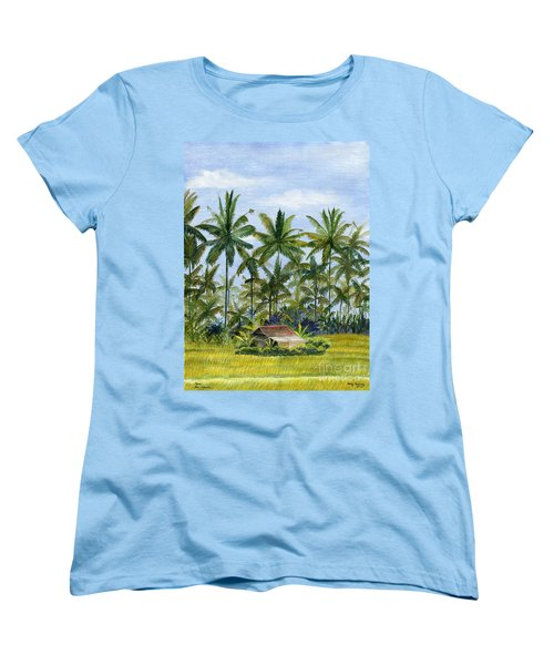 Women's T-Shirt (Standard Cut) featuring the painting Home Bali Ubud Indonesia by Melly Terpening
