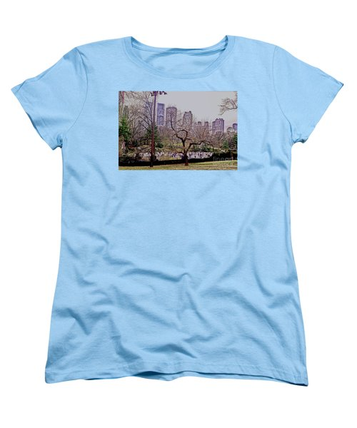Women's T-Shirt (Standard Cut) featuring the photograph Ice Skaters On Wollman Rink by Sandy Moulder