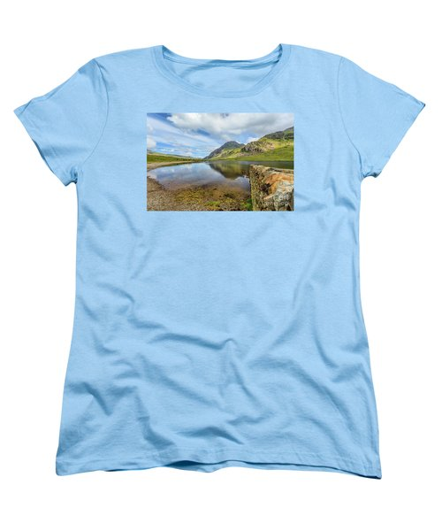 Women's T-Shirt (Standard Cut) featuring the photograph Idwal Lake Snowdonia by Adrian Evans