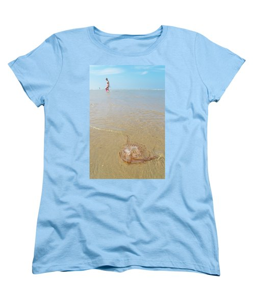 Jellyfish On Beach Women's T-Shirt (Standard Cut) by Hans Engbers