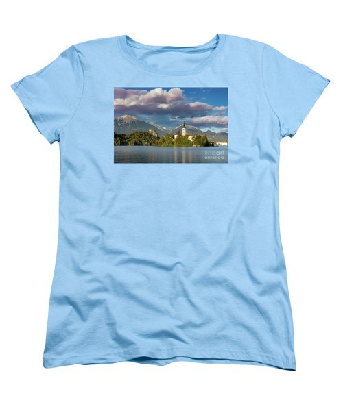 Women's T-Shirt (Standard Cut) featuring the photograph Lake Bled Evening by Brian Jannsen