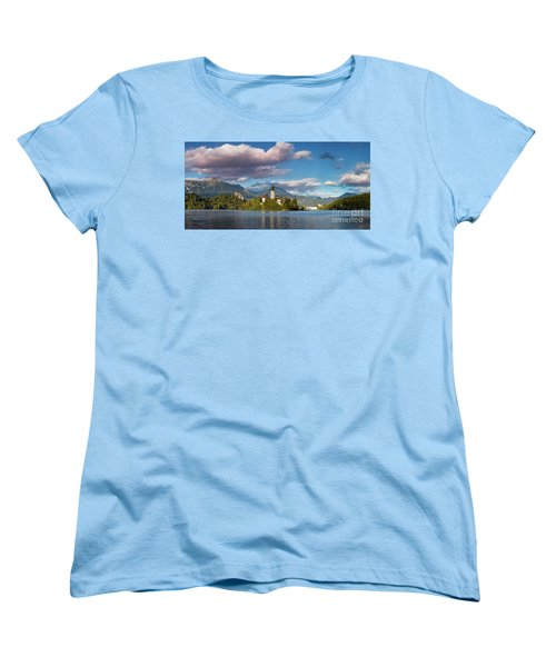 Women's T-Shirt (Standard Cut) featuring the photograph Lake Bled Panoramic by Brian Jannsen