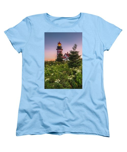 Maine West Quoddy Head Light At Sunset Women's T-Shirt (Standard Cut) by Ranjay Mitra