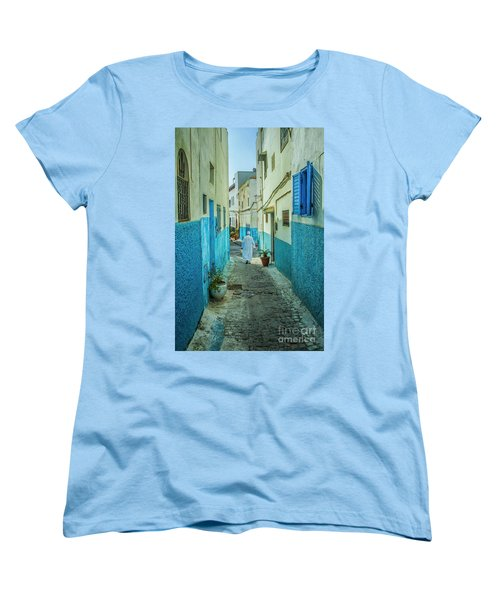 Man In White Djellaba Walking In Medina Of Rabat Women's T-Shirt (Standard Cut) by Patricia Hofmeester