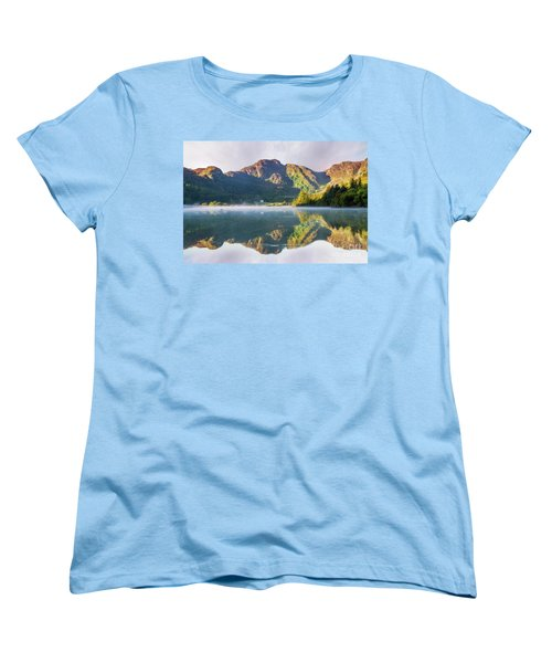 Women's T-Shirt (Standard Cut) featuring the photograph Misty Dawn Lake by Ian Mitchell