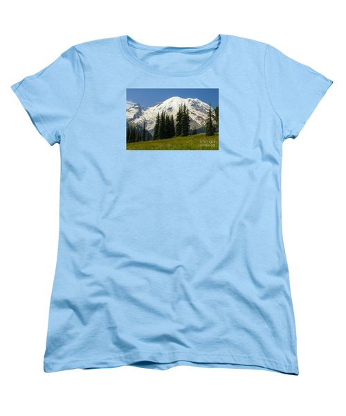 Mt. Rainier Alpine Meadow Women's T-Shirt (Standard Cut) by Chuck Flewelling