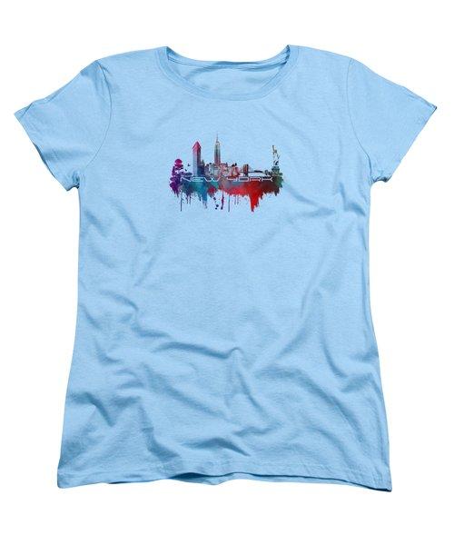New York City Skyline Blue Women's T-Shirt (Standard Cut) by Justyna JBJart