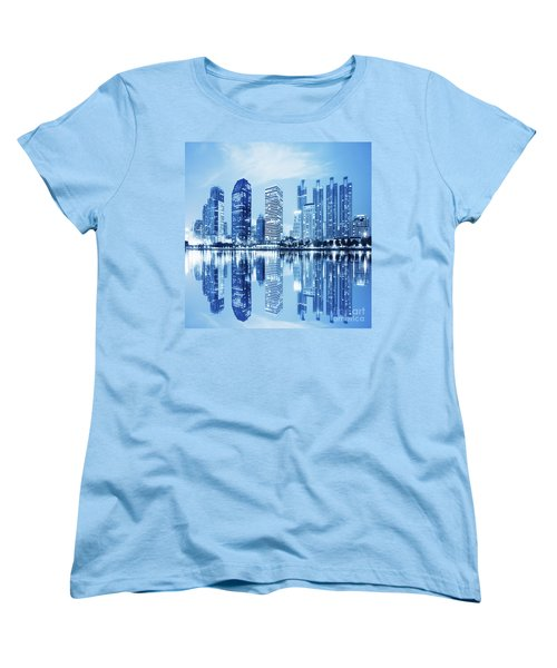Women's T-Shirt (Standard Cut) featuring the photograph Night Scenes Of City by Setsiri Silapasuwanchai