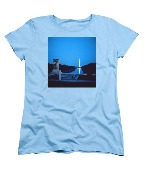 Night View Of The Washington Monument Across The National Mall Women's T-Shirt (Standard Cut) by American School