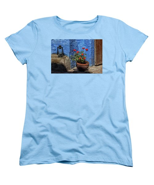 Women's T-Shirt (Standard Cut) featuring the photograph Red Geranium Near A Blue Wall by Patricia Hofmeester