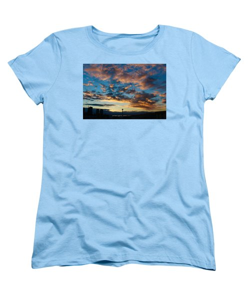 Space Needle In Clouds Women's T-Shirt (Standard Cut) by Suzanne Lorenz