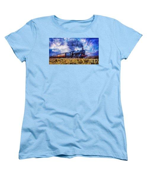 Women's T-Shirt (Standard Cut) featuring the digital art Steam Train by Ian Mitchell