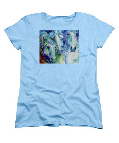 Three Spirits Equine Women's T-Shirt (Standard Cut) by Marcia Baldwin