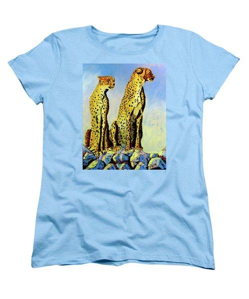 Two Cheetahs Women's T-Shirt (Standard Cut) by Stan Hamilton