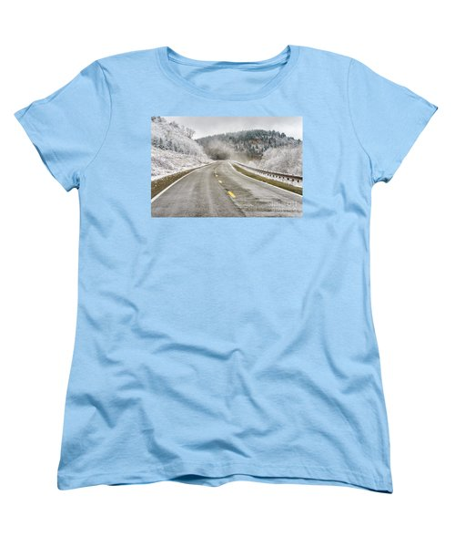 Women's T-Shirt (Standard Cut) featuring the photograph Unexpected Autumn Snow Highland Scenic Highway by Thomas R Fletcher