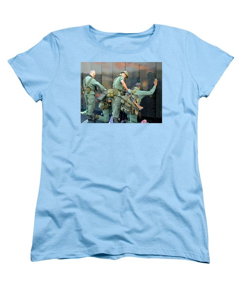 Women's T-Shirt (Standard Cut) featuring the photograph Veterans At Vietnam Wall by Carolyn Marshall