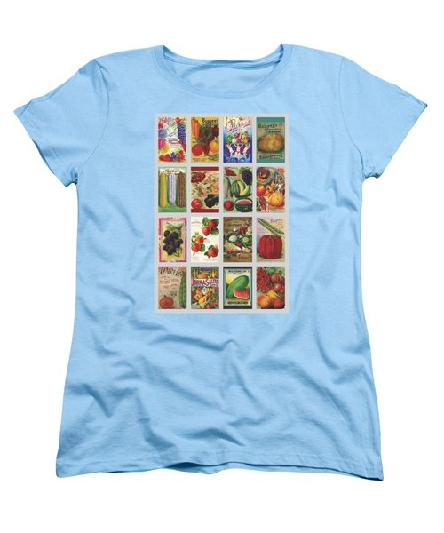 Vintage Farm Seed Packs Women's T-Shirt (Standard Cut) by Debbie Karnes