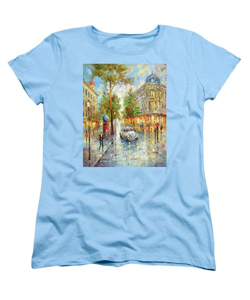 Women's T-Shirt (Standard Cut) featuring the painting White Taxi by Dmitry Spiros