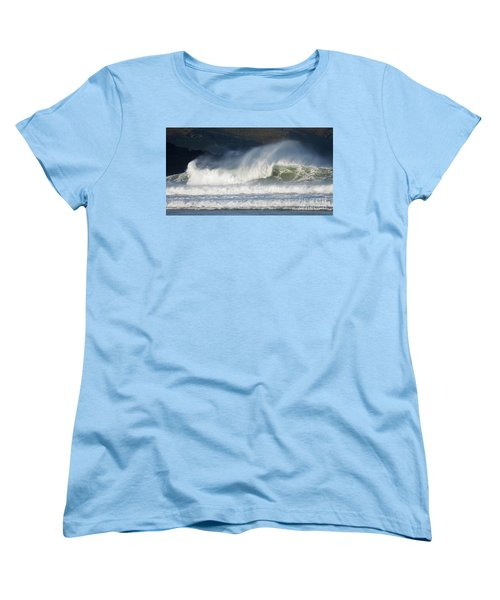 Women's T-Shirt (Standard Cut) featuring the photograph Windy Seas In Cornwall by Nicholas Burningham