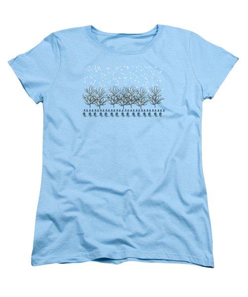Winter Bluebirds In The Snow Women's T-Shirt (Standard Cut) by Anne Kitzman