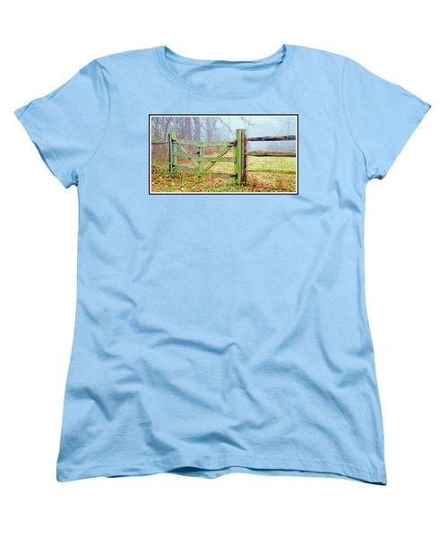 Wooden Fence On A Foggy Morning Women's T-Shirt (Standard Cut) by A Gurmankin