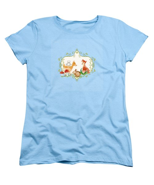 Woodland Fairytale - Animals Deer Owl Fox Bunny N Mushrooms Women's T-Shirt (Standard Cut) by Audrey Jeanne Roberts