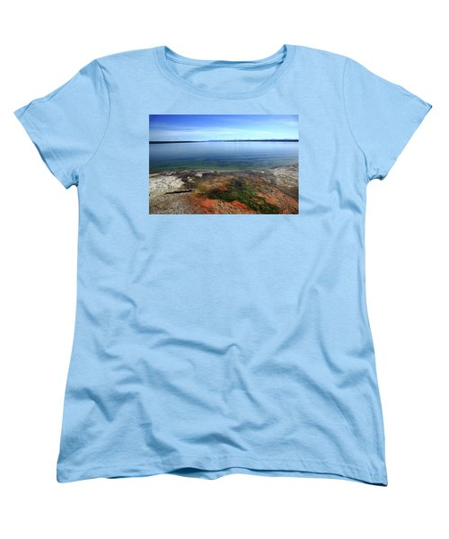 Women's T-Shirt (Standard Cut) featuring the photograph Yellowstone Lake Colors by Frank Romeo
