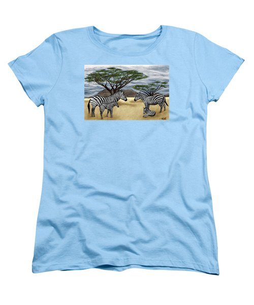 Zebra African Outback  Women's T-Shirt (Standard Cut) by Peter Piatt