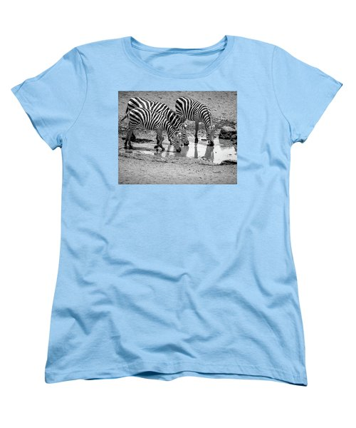 Women's T-Shirt (Standard Cut) featuring the photograph Zebras At The Watering Hole by Marion McCristall