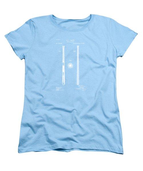 1885 Baseball Bat Patent Artwork - Blueprint Women's T-Shirt (Standard Cut) by Nikki Marie Smith