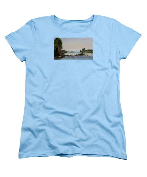 Women's T-Shirt (Standard Cut) featuring the painting 19 Geese by Marilyn  McNish
