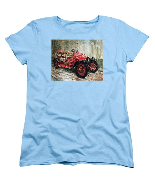 1912 Porsche Fire Truck Women's T-Shirt (Standard Cut) by Joey Agbayani