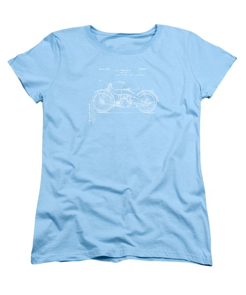 1924 Harley Motorcycle Patent Artwork Blueprint Women's T-Shirt (Standard Cut) by Nikki Marie Smith