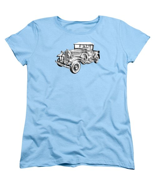 1930 Ford Model A Pickup Truck Illustration Women's T-Shirt (Standard Cut) by Keith Webber Jr