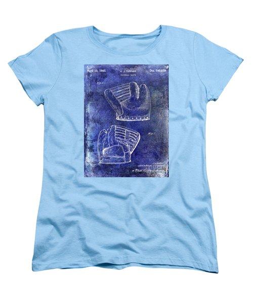 1945 Baseball Glove Patent Blue Women's T-Shirt (Standard Cut) by Jon Neidert